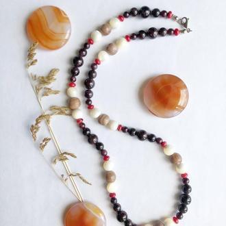 Длинные бусы из самоцветов, коралловые бусы, бусы из граната, эксклюзивные бусы