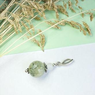 Женский кулон с кварцем и пренитом, серебряный кулон, зеленый кулон, кулон из камней