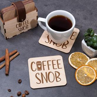 Набор подставок для горячего «Coffee snob» с лазерной гравировкой, подарок на новоселье