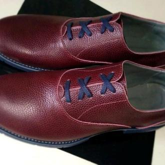 """Мужские туфли """" Оксфорд"""" из натурально кожи цвета бургунд, ручной работы. Готовы к отправке."""