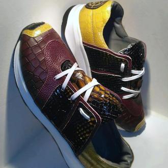 Роскошные мужские кроссовки из натуральной кожи с элементами питона