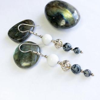 Серебряные серьги из натуральных камней, серьги из белого агата и обсидиана