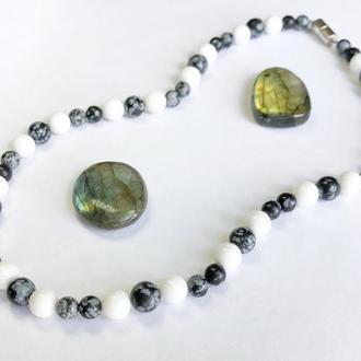 Женские бусы из натуральных камней, бусы из белого агата и обсидиана, агатовые бусы