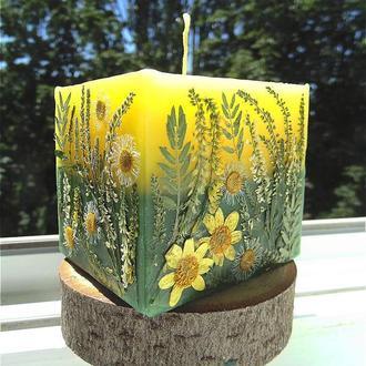 свеча с цветами