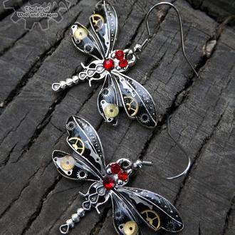 Серьги steampunk стимпанк стрекозы (заранее под заказ на апрель)