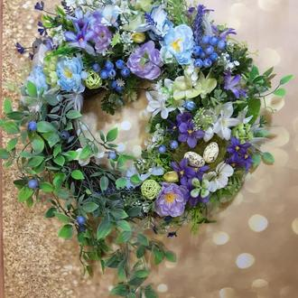 Купить летний весенний венок на дверь подарок декор вінок на двері