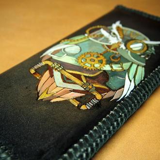 Кошелек с совой, рисунок в стиле стимпанк на кошельке, тревел кошелек с рисунком, женский кошелек