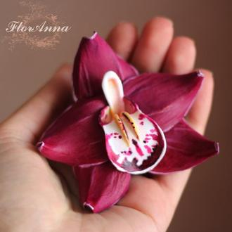 """Шпилька квітка """"Малинова орхідея"""""""