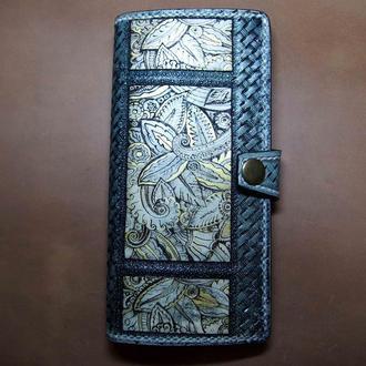 Женский кошелек, кожаный кошелек с рисунком, кошелек ручной работы на подарок, кошелек для девушки