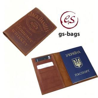 """Кожаная обложка для паспорта с тиснением """" Jack Daniels """""""