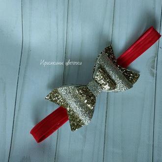 Золотой бантик из экокожи на повязке