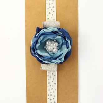 Повязка детская на голову с цветком, Повязка для малышки, Подарок маленькой девочке