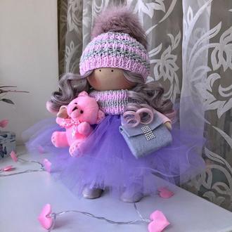 Интерьерная кукла с розовым мишкой