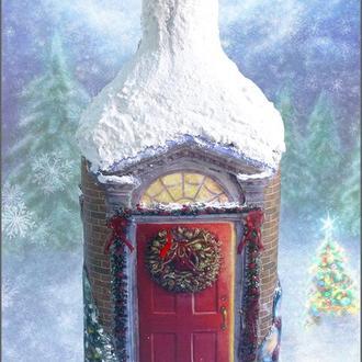 Новогоднее оформление бутылки ′Зимний дом′ Подарок на новый год 2018