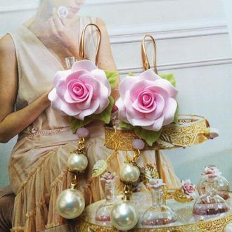 Сережки з Трояндами Сережки квіти