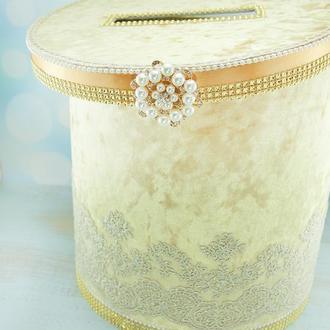 Сундук для денег золотой / Скриня для грошей золота / Коробка весільна / Золотая коробка
