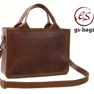 Кожаная мужская женская деловая сумка для документов А4