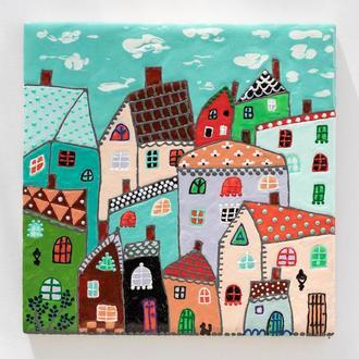Керамическая плитка. роспись. Сказочные домики. Панно на стену