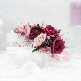 Венок вишнево-пудрового цвета