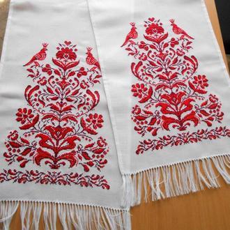 Вышитый свадебный рушник Дерево жизни.Эффект ручной вышивки.