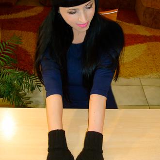 Митенки перчатки без пальцев - жемчужное сияние