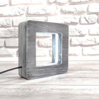 Деревянный светильник-ночник КВАДРАТ