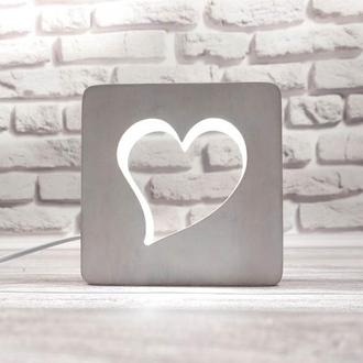 Деревянный светильник-ночник сердце