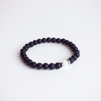 Браслет из шунгита и горного хрусталя (модель № 406) JK jewelry