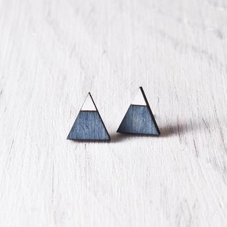 Деревянные серьги треугольники, сережки гвоздики