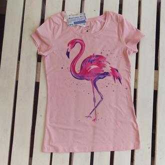 Женская футболка с фламинго , размер L