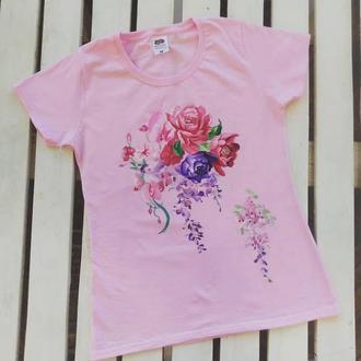 Женская футболка с цветами роспись, размер S
