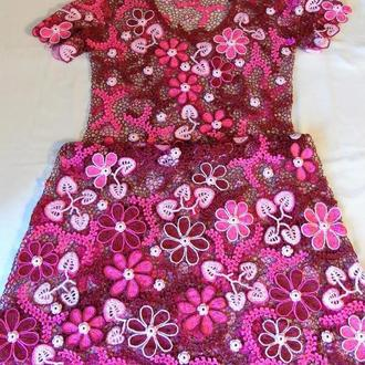 """Платье летнее """"Цветочный коктейль"""" ирландское кружево"""