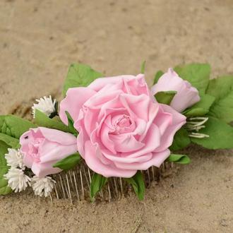 """Гребень в прическу """"Розовая нежность"""""""