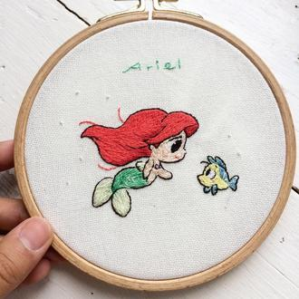 Disney Ariel Embroidery Hoop | Вышивка Русалочка Ариэль
