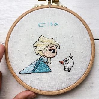 Disney Frozen Embroidery Hoop | Вышивка Эльза и Олаф