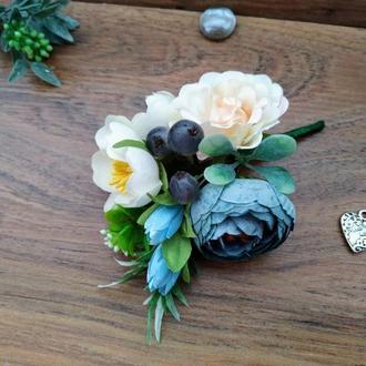 Бутоньерка для жениха в цвете Циан Бутоньерка для свидетеля Свадебные бутоньерки