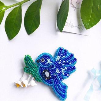 Брошь Синяя птица с веткой
