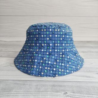 Панамка с утяжкой «мелкие синие звездочки» 1 р. (42-48см)