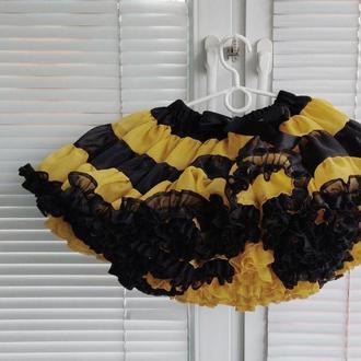 Юбка шифоновая Чёрно-жёлтая 30 см