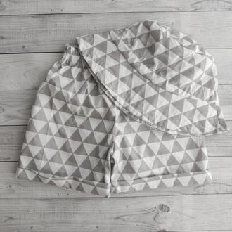 Набор шорты и панамка р.3 с утяжкой «Крупные серые треугольники» р. 110-116