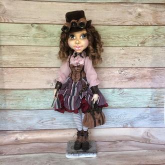 Текстильная шарнирная кукла в стиле стимпанк