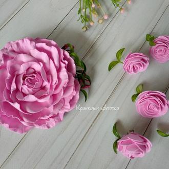Роскошная роза из фоамирана на заколке