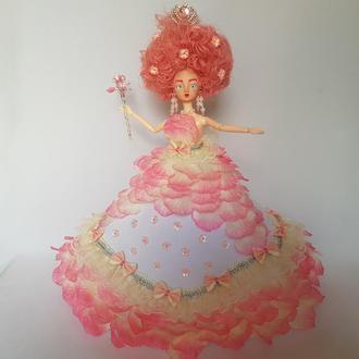 Кукла с розовыми волосами в пышном платье, королева цветов, фея Розалин