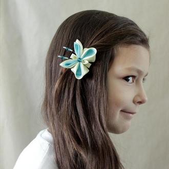 Дитяча шпилька для волосся з метеликом. Дитяча заколка для волосся ручної роботи. Канзаши