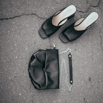 Черная кожаная сумка 2 в1 [кроссбоди+поясная]