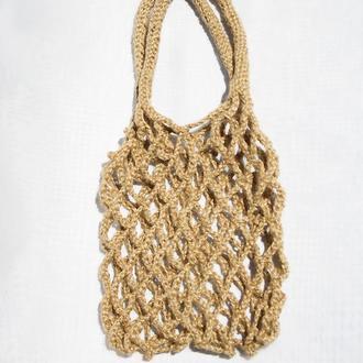 Мини авоська плетеная из джута 31х34