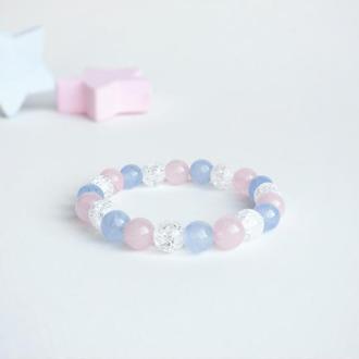 Браслет из аквамарина, горного хрусталя  и розового кварца (модель № 446) JK jewelry