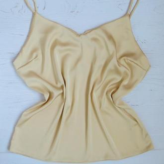 Женская шелковая маечка цвет - песок, шелковая майка, базовый топ