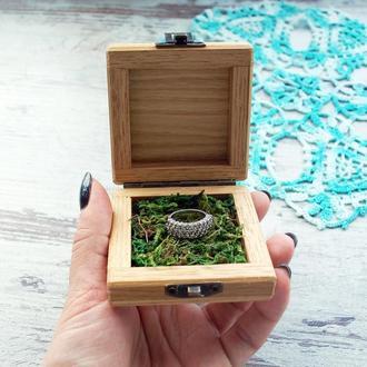 Деревянная коробочка для кольца Свадебная шкатулка для колец Подставка для кольца для помолвки