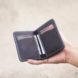 Вертикальное мини-портмоне Royal V6 (Итальянская кожа) - Компактный кошелёк в стиле минимализм